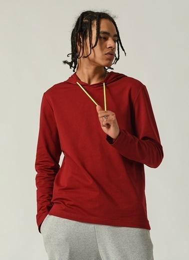 People By Fabrika Erkek kapüşonlu Yaka  Sweatshirt PFESS21SW0010 Kırmızı